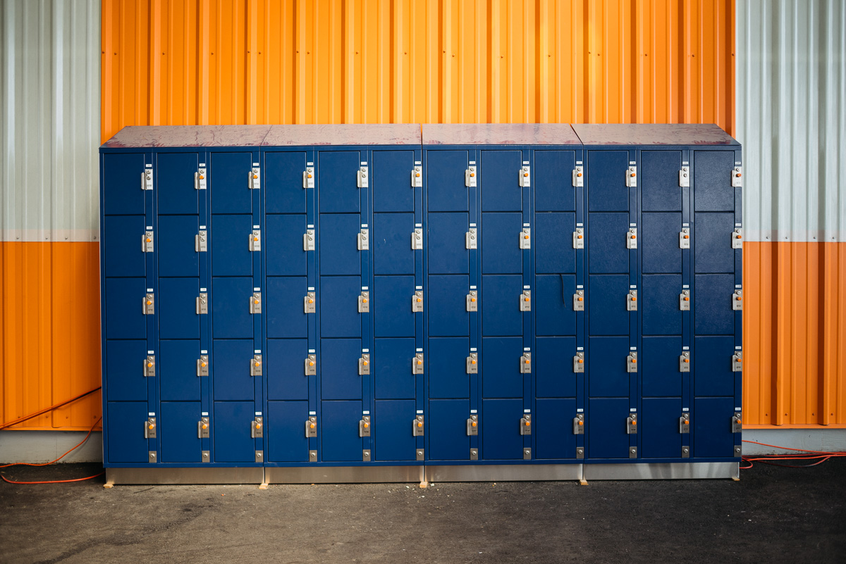 Lockers. Small personal gym blue lockers